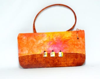 Quilted Batik & Rust Pocketbook-Purse with Mini-Pouch/Wallet