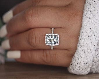 Aquamarine White Gold Engagement Ring, Cushion 10x8mm Natural Aquamarine and Diamond Halo Bridal Ring, Wedding Ring, Half Eternity Diamond