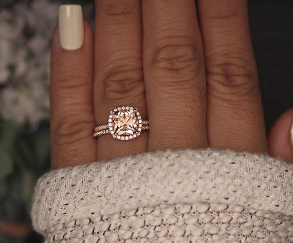 Rose Gold Morganite Ring Cushion 8mm Morganite Engagement