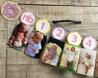 Donut First Year Photo Banner   First Birthday Decorations   Donut Banners   First Birthday Banner   Donut Party Decorations  