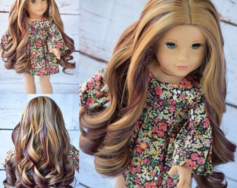 "Custom Wig for 18"" American Girl Doll, Gotz, Journey Girls, My Life ~ Curling Iron Heat Safe"