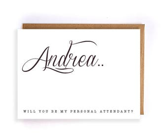 Will you be my personal attendant ask card gift, custom wedding greeting, wedding party, gift thank you, proposal, bridal party GC265