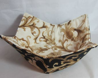 10 Inch Microwave Bowl Cozy/Holder. Black Gold and Gold Ivory Jacquard Prints. Hostess or Housewarming Gift