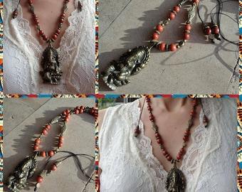 Ganesh macrame necklace red Jasper
