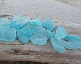 "22 striped Genuine Light blue Sea Glass-Bottle Necks-Size 0.6-1""- Jewelry quality-Sea Glass Bottle Lips- Bottle Rims-glass Bottle necks#G29#"