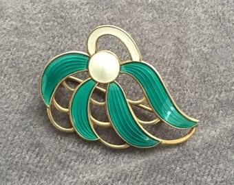 Aksel Holmsen silver and green enamel brooch