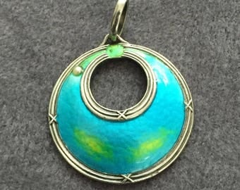 Murrle Bennett silver and enamel pendant