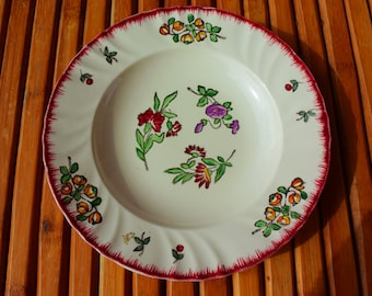 LONGWY soup plate - old plate - Made in France - flowers decor -