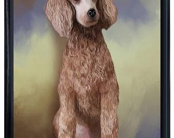 Poodle Dog Framed Canvas Print Wall Art