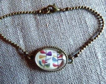 Flower cabochon bracelet figurative multicolre