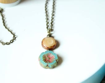 bronze Pearl Necklace glass turquoise flower pattern