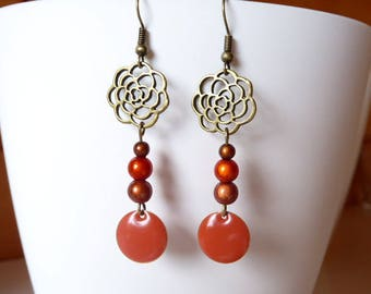 Earrings orange magic beads and sequin