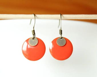 bronze sequin enamel red coral and round earrings