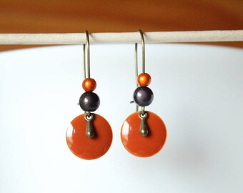 Bronze pendant orange sequin and drop earring