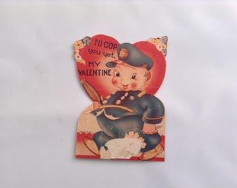 Vintage Valentine Card Policeman Paper Epherma Valentines