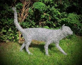 Handmade chicken wire Cat sculpture