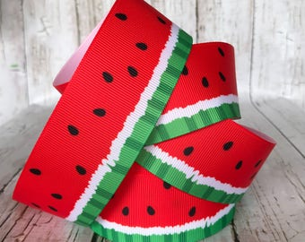 """1 1/2"""" WATERMELON Ribbon High Quality Printed Polyester Ribbon Food Fruit Red Girls Baby Grosgrain Cheer Ribbon - Sold by 3 and 5 yards"""