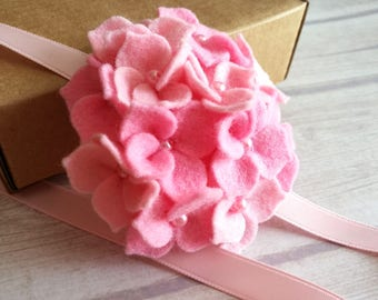 Light Pink headband, Pink Flower girl headband, Pink Hydrangea headband, baby girl headband, newborn Headband, ribbon headband