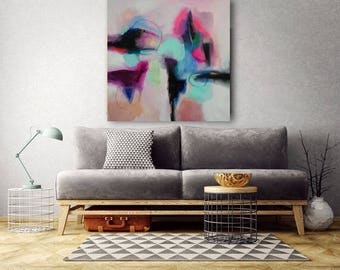abstract shapes of pink, turquoise, purple, black original and unique size 30 x 30 inches