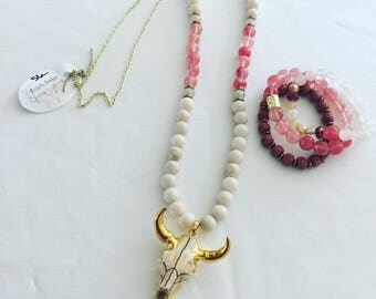 Cream/pink coral beaded cow skull statement necklace