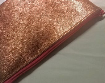 Rose Gold Faux Leather Mini Clutch Purse