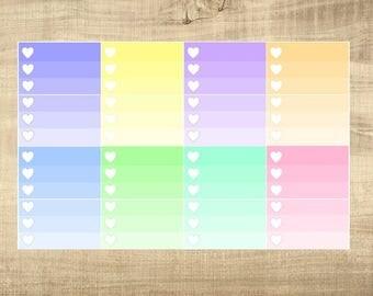 8 Multi-Coloured Pastel Ombre Half Check Box Stickers for Erin Condren LifePlanner