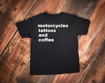 Biker t-shirt, Motorcycle t shirt, Harley shirt, Motorcycles Tattoos and Coffee shirt, Bike shirt, Biker Babe, Tattoos and Coffee tshirt