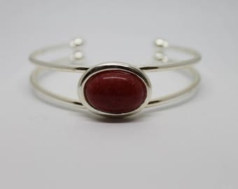 Cuff Bracelet Silver with Red Mountain Jade Stone