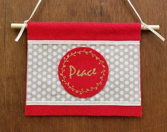 Peace sign - Holiday decor - Red and Gold decor - Christmas decor - Christmas decoration- Holiday gift- Boho holiday decor - Polka dot decor