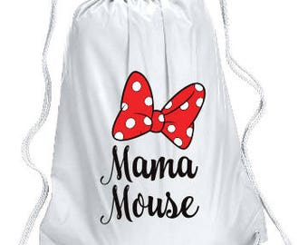 Mama Mouse Personalized bag, Minnie Backpack, Disney Trip  backpack, Family Vacation Mama Mouse Bag, Minnie Cinch Bag