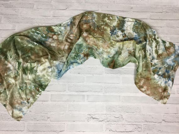"Boss Gift for Her! 100% Silk Oblong Scarf Hand Dyed Abstract Floral Watercolor Silk Scarves Teacher Gift Olive Sage Green 15""x60"" #182"