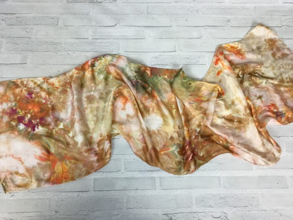 Fall Accessories - 100% Silk Oblong Scarf Hand Dyed Abstract Floral Watercolor Silk Scarves Brown, Orange, Gold, Green Tones #185