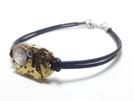 Men's bracelet in gold leather with a mechanical watch