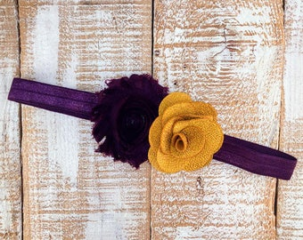 Fall Headband, Vintage Headband, Plum & Mustard Headband, Plum Headband, Newborn Headband, Girls Headband, Photography Prop,
