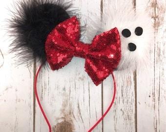 Cruella De Ville Inspired Minnie Ears , Minnie Ears, Cruella Inspired Headband, Girls Birthday Headband, Bachelorette Party,