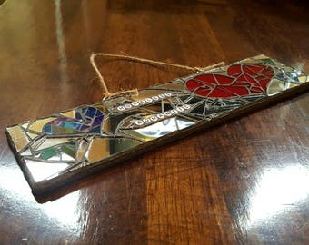 Hopeless Romantic Valentine's Love Plaque Wall Hanging Stained Glass Mirror Mosaic Heart Arrow
