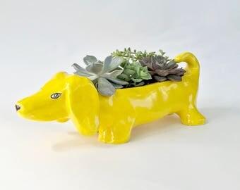 Yellow Ceramic Dachshund Pot