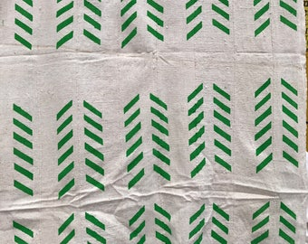 White and green Mudcloth