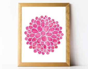 Dahlia Print PRINTABLE | Pink Dahlia Flower Print | Dahlia Flowers Digital Download | Watercolor Dahlia Wall Art | Dahlia Art Print Digital
