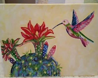 Colorful Cactus and Hummingbird