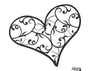 Swirl Filigree Heart SVG