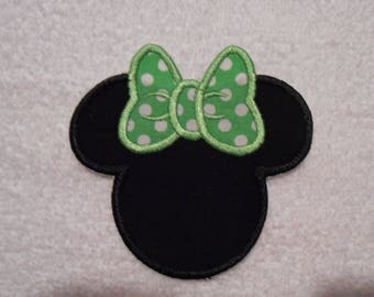 Black and Green Minnie Mouse Iron on Applique Patch