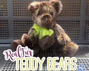 Raccoon Grey Teddy Bear by RealFurTeddyBears - FREE SHIPPING