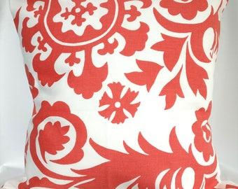 SALE Pillow covers Coral floral Pillow case, Premier Print Suzani pillow Decorative Pillows 18x18, 16X16, 14x14, 12x12