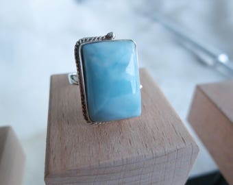 Size 7 Handmade Genuine Dominican Republic Larimar Sterling Silver Ring