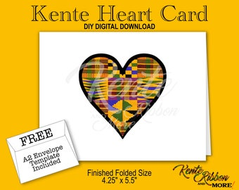"DIY - Printable Kente Heart Note Card - Finished folded size: 5.5"" x 4.25"" - Digital Download - 2-up on 8.5"" x 11"" - JPG Files - Style KMHC"