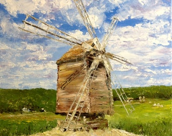 Windmill Oil Painting Canvas Windmill Painting Landscape Old Ukraine Painting Impasto Painting Old Ukrainian Landscape Painting Ethnic Art