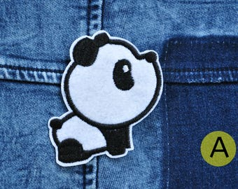 Chibi Panda embroidered iron on patch.