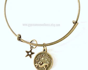 Ambitious Capricorn Zodiac Bronze Adjustable Bangle Charm Bracelet Double Sided Astrology Charm Star Signs Handmade Jewelry Free Shipping