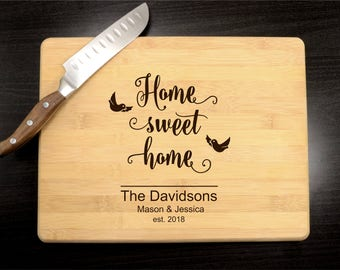 Personalized Housewarming Gift - Engraved Wood Cutting Board -  Custom Butcher Block - Home Sweet Home - Kitchen Decor - Eco-Friendly Gift